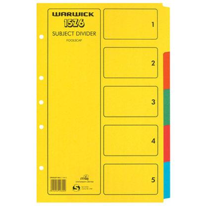 Warwick Divider 15Z6 Foolscap 5 Tab Colour