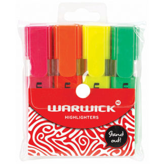 Warwick Highlighter Stubby Assorted 4 Pack