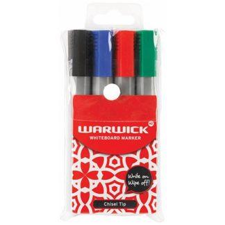 Warwick Whiteboard Marker Chisel Tip (4pk)