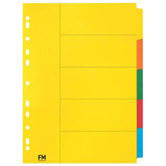 FM Indices A4 5 Tab Coloured Cardboard