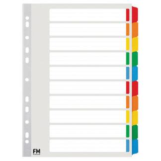 FM Indices A4 10 Tab Colour Reinforced