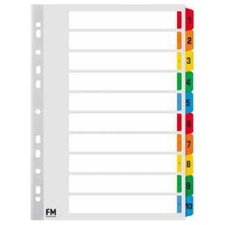 FM Indices A4 1-10 Tab Colour Reinforced