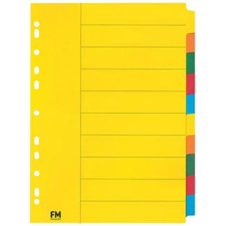 FM Indices A4 10 Tab Coloured Cardboard