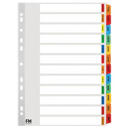 FM Indices A4 Jan-Dec Tab Colour Reinforced