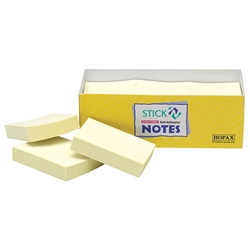 Stick'N Note Yellow 38X50mm 100 Sheet Pack 12