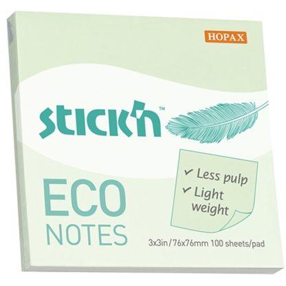 Stick'N Eco Green Pastel 76X76mm 100 Sheets