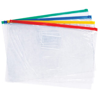 FM Data Wallet A4 Clear Pvc With Zip (4pk)