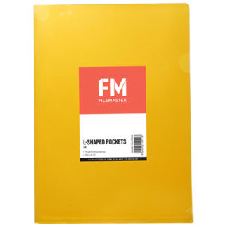 FM Pocket L Shape Clear A4 Yellow 12Pk