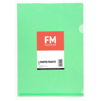 FM Pocket L Shape Clear A4 Green 12Pk