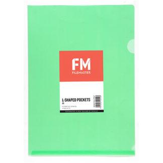 FM Pocket L Shape Clear A4 Green 12Pk