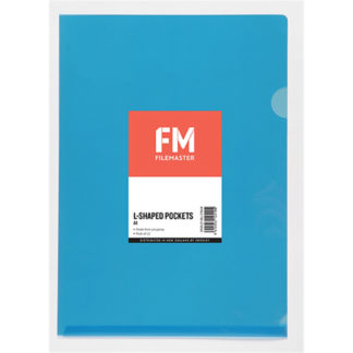 FM Pocket L Shape Clear A4 Blue 12Pk