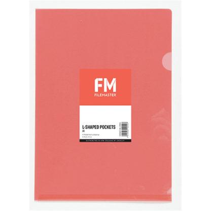 FM Pocket L Shape Clear A4 Red 12Pk
