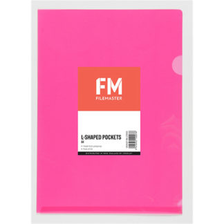 FM Pocket L Shape Clear A4 Pink 12Pk