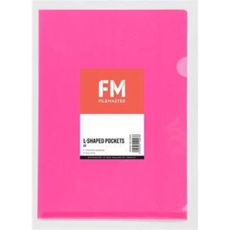 FM Pocket L Shape Clear A4 Pink 12Pk