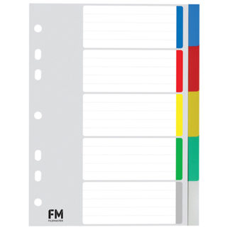 FM Indices A5 5 Tab Polyprop Coloured