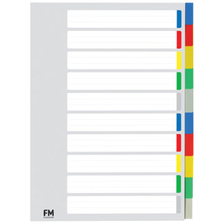 FM Indices A4 10 Tab Colour