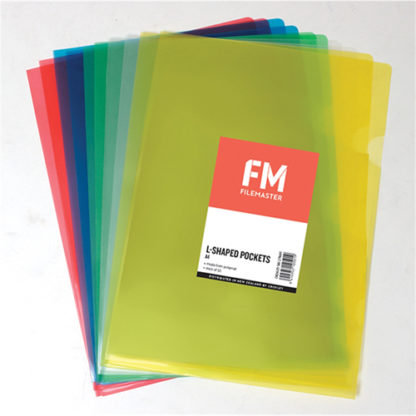 FM Pocket L Shape Clear A4 Assorted 10Pk
