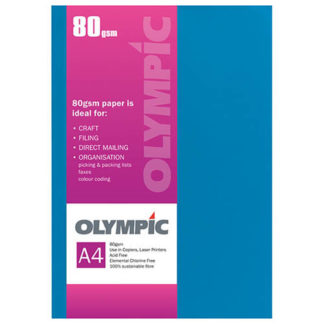 Olympic A4 Intensive Blue 80GSM 30 Sheets