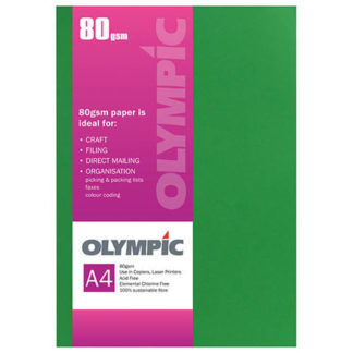 Olympic A4 Billiard Green 80GSM 30 Sheets
