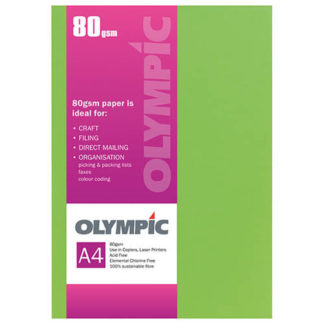 Olympic A4 Fluoro Green 80GSM 30 Sheets