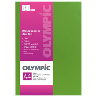 Olympic A4 Intensive Green 80GSM 30 Sheets