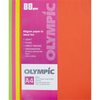 Olympic A4 Assorted Fluoro 80GSM 100 Sheets