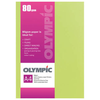 Olympic A4 Fluoro Yellow 80GSM 30 Sheets