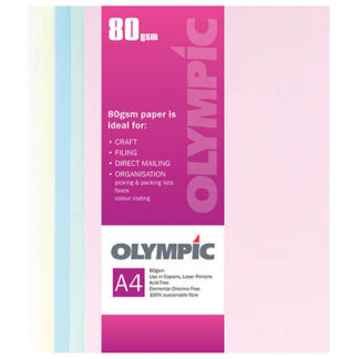 Olympic A4 Assorted Pastels 80GSM 500 Sheets