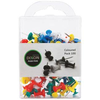 Dixon Push Pins Pack 100 Assorted Colour
