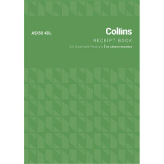 Collins Cash Receipt A5/50 4DL - No Carbon