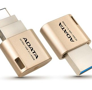 ADATA UC350 Gold USB3.1 Type A + Type-C 64GB Golden Flash Drive