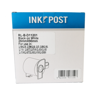 InkPost for Brother DK11201 29mm x 90mm Black on White
