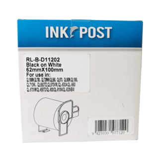 InkPost for Brother DK11202 62mm x 100mm Black on White
