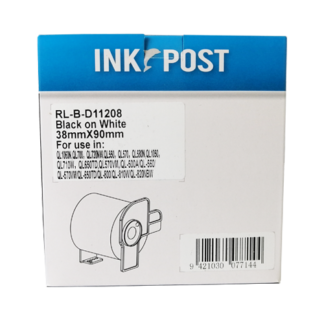 InkPost for Brother DK11208 38mm x 90mm Black on White