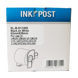 InkPost for Brother DK11209 62mm x 29mm Black on White