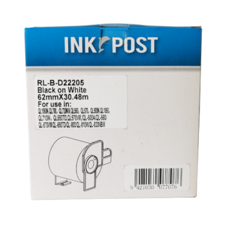 InkPost for Brother DK22205 60mm x 30.48m Black on White