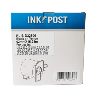 InkPost for Brother DK22606 62mm x 15.24m Black on yellow