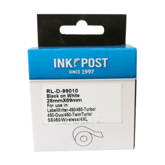 InkPost for Dymo 99010 28mm x 89mm Black on yellow