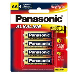 Panasonic Alkaline AA Batteries 4pk