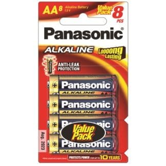 Panasonic Alkaline AA Batteries 8pk