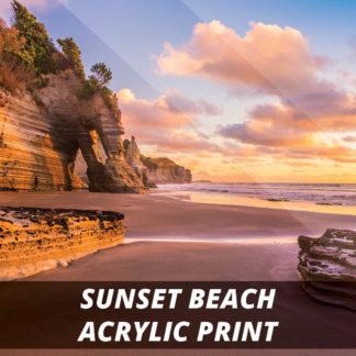 Sunset Beach NZ Fine Art Acrylic Print 20x20