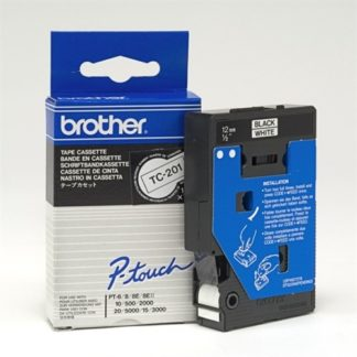 Brother TC201 12mmx8m Black on White Tape