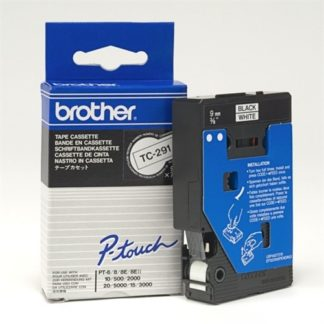 Brother TC291 9mmx8m Black on White Tape
