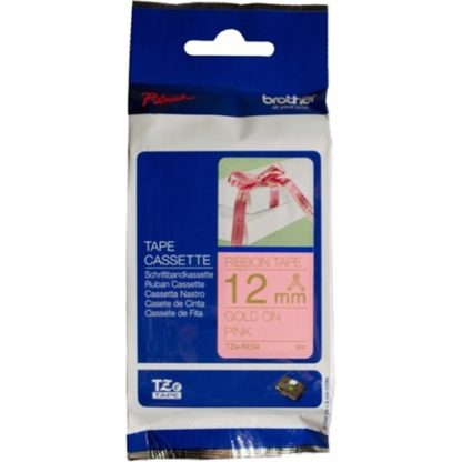 Brother TZERE34 Gold on Pink Ribbon Tape 4mx12mm