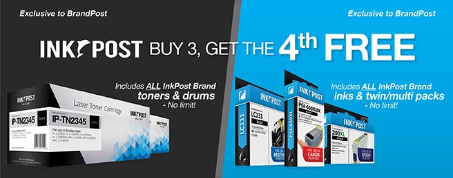 Buy 3 InkPost Toners or Ink Cartridges and get the 4th free